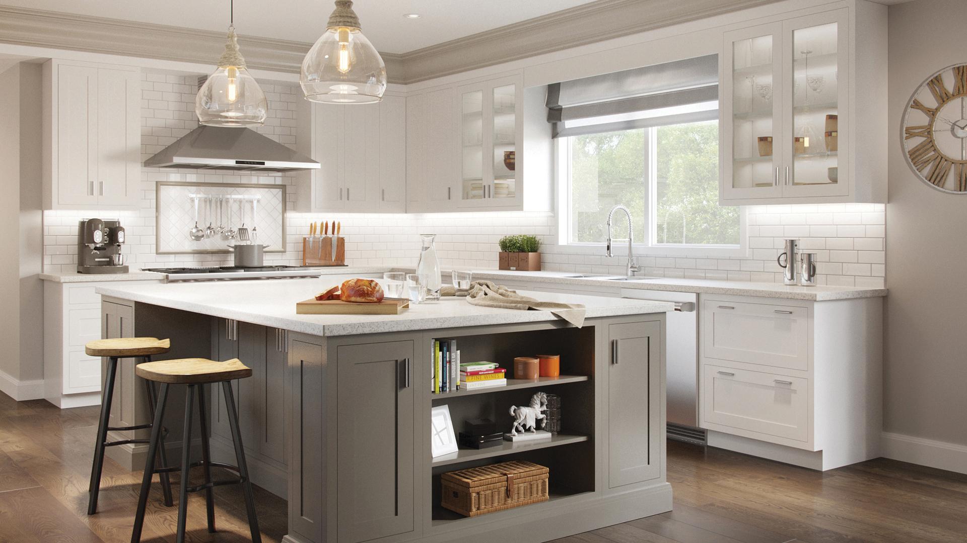 Signature Austin Shaker cabinets in Cloud White and Studio Gray